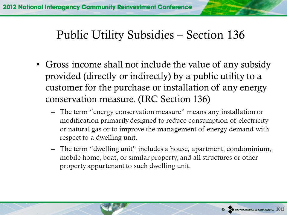 Public Utility Subsidies – Section 136
