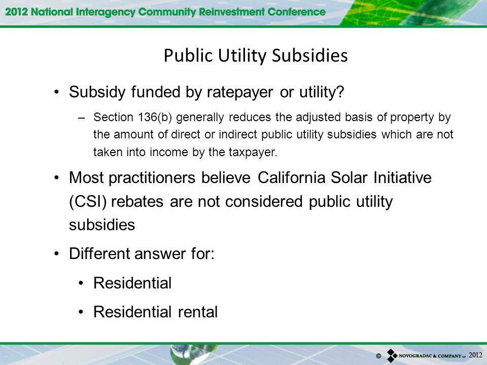 Public Utility Subsidies
