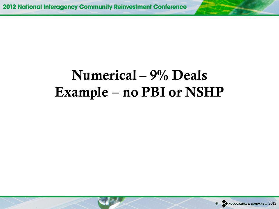 Numerical – 9% Deals Example – no PBI or NSHP