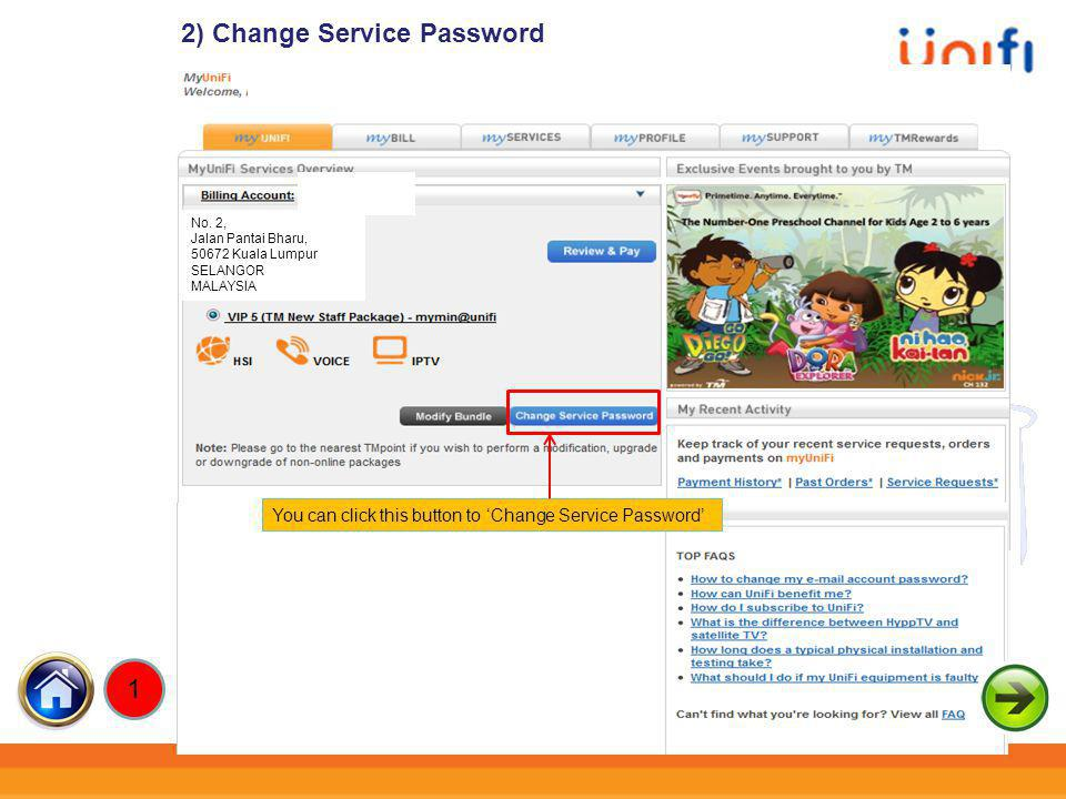 2) Change Service Password