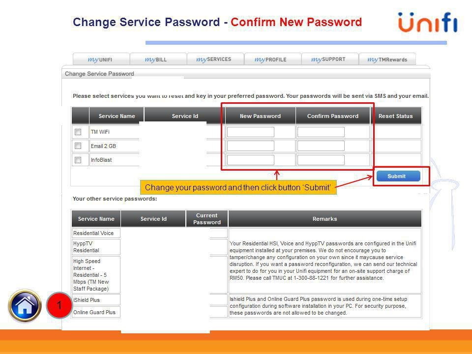 Change Service Password - Confirm New Password