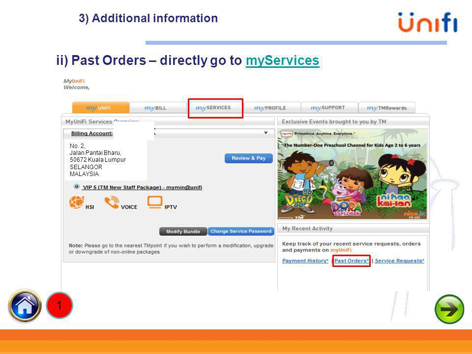 ii) Past Orders – directly go to myServices