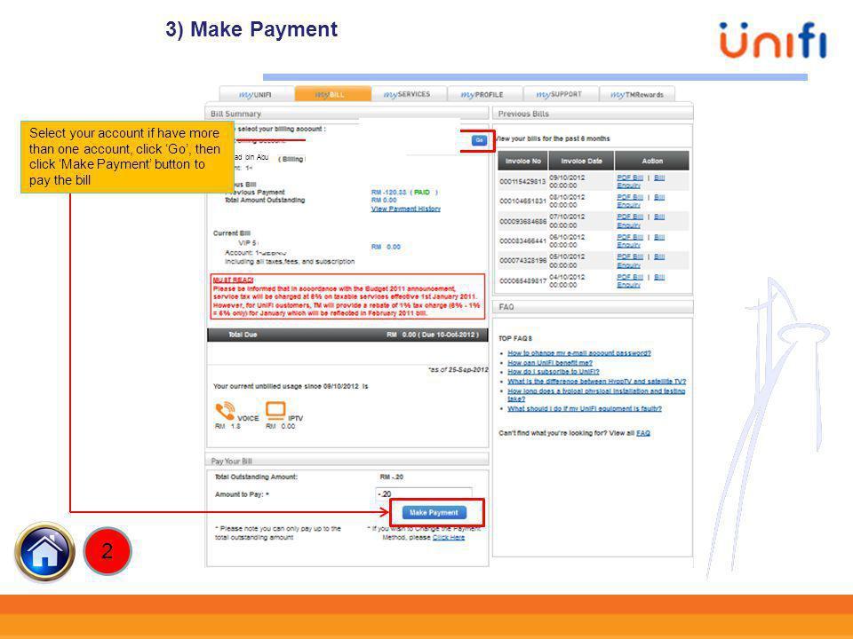 3) Make Payment xxxxxxx xxxxxxx 2