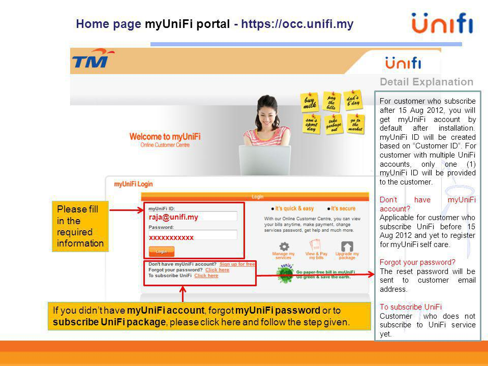 Home page myUniFi portal - https://occ.unifi.my