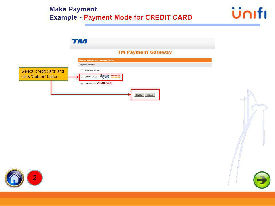 Example - Payment Mode for CREDIT CARD
