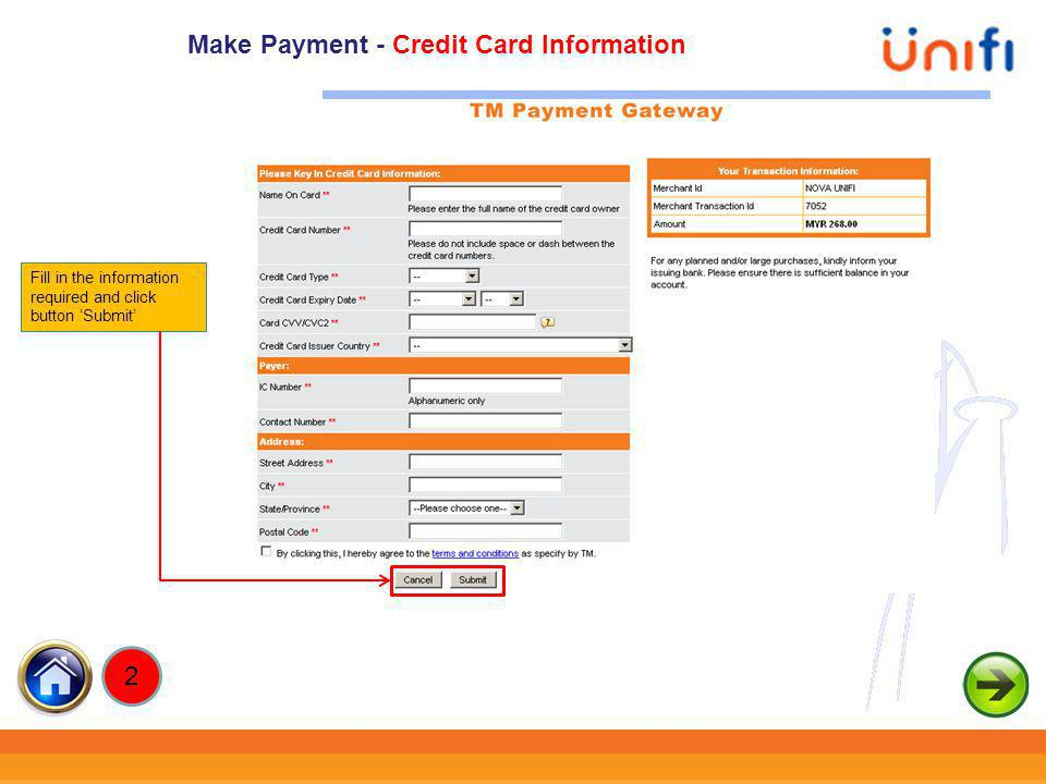 Make Payment - Credit Card Information