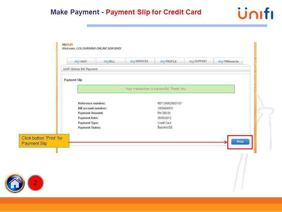 Make Payment - Payment Slip for Credit Card