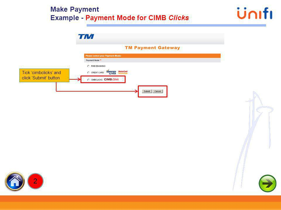 Example - Payment Mode for CIMB Clicks