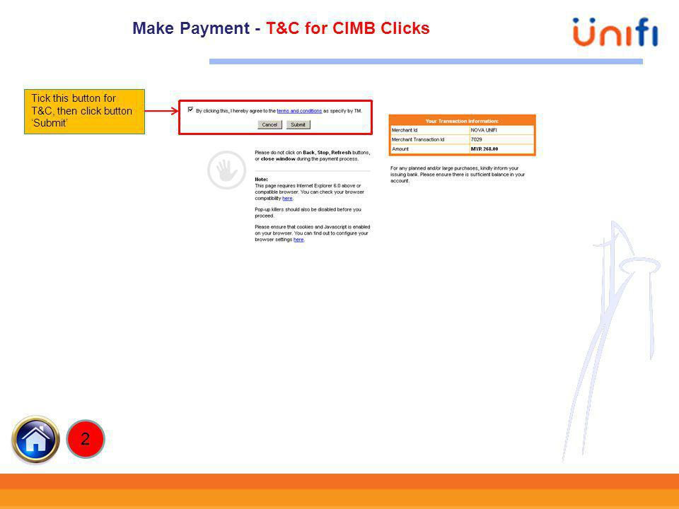 Make Payment - T&C for CIMB Clicks