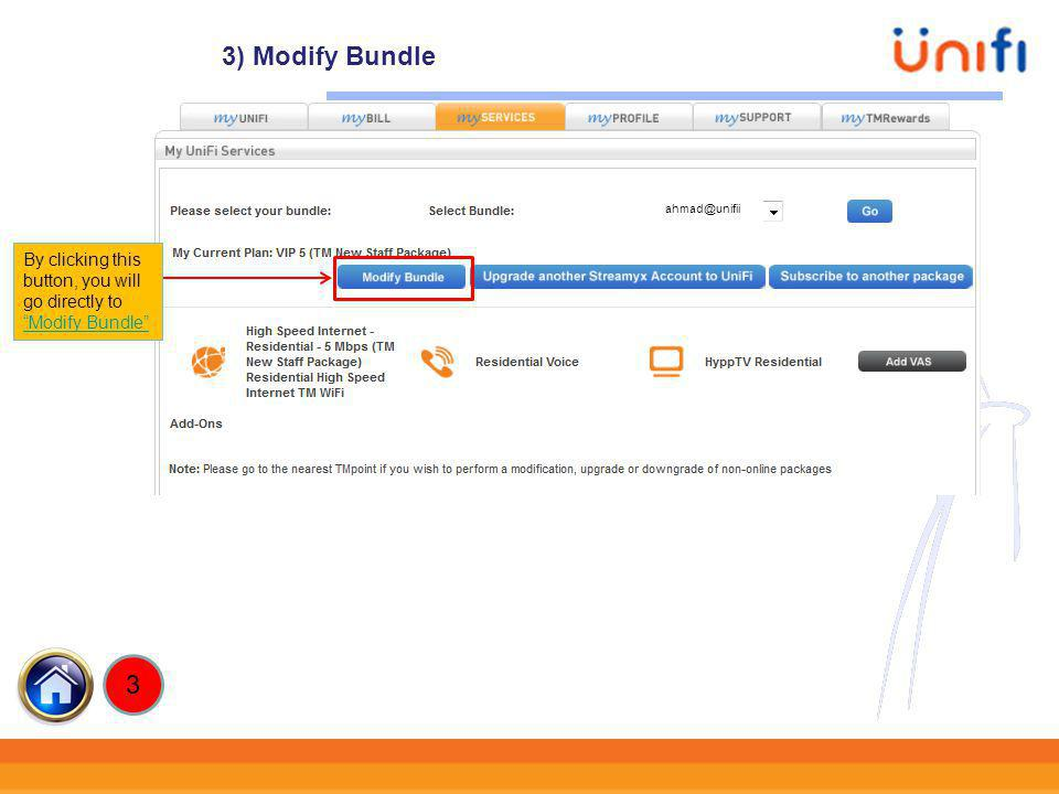 3) Modify Bundle ahmad@unifii By clicking this button, you will go directly to Modify Bundle 3