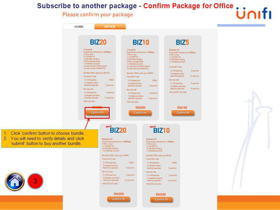 Subscribe to another package - Confirm Package for Office