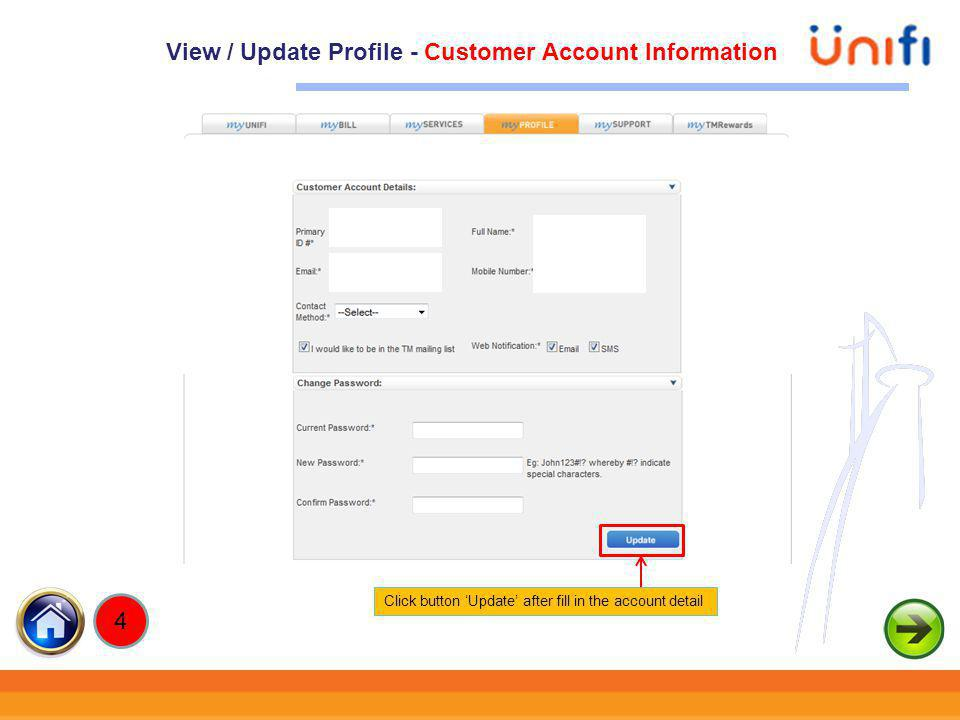 View / Update Profile - Customer Account Information