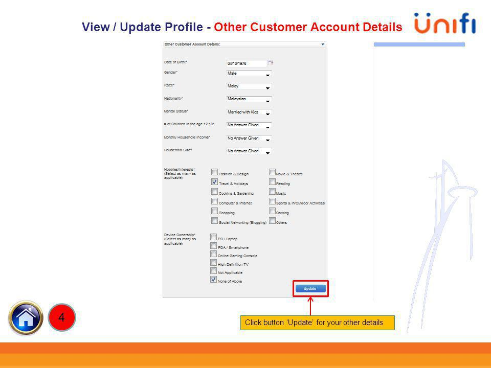 View / Update Profile - Other Customer Account Details