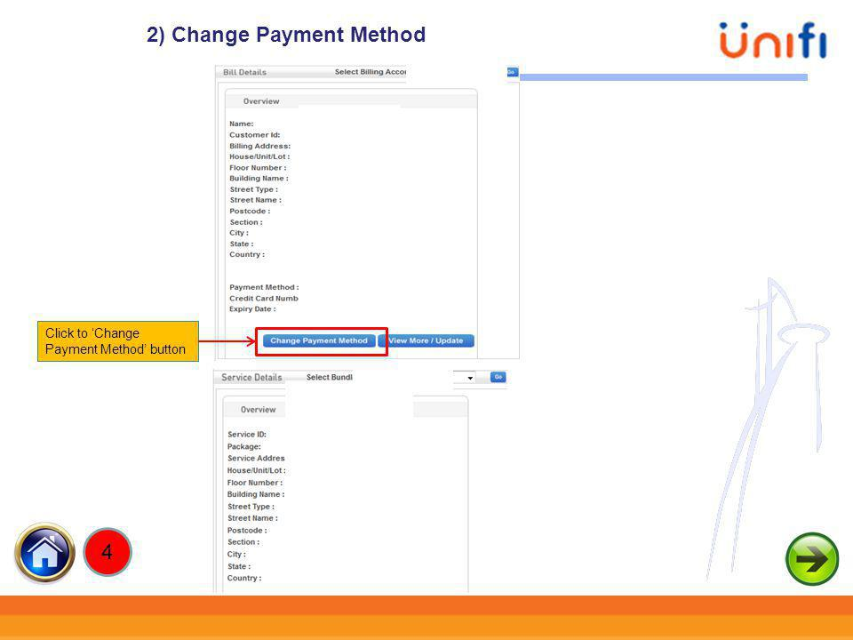 2) Change Payment Method