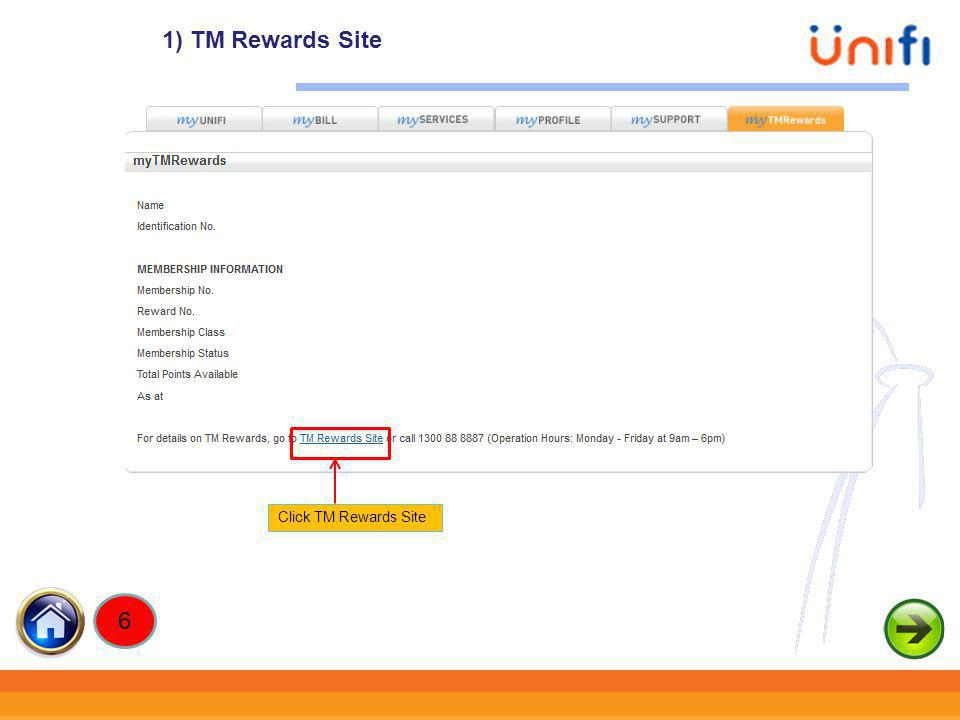 1) TM Rewards Site Click TM Rewards Site 6