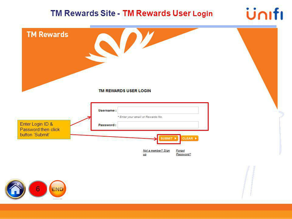 TM Rewards Site - TM Rewards User Login