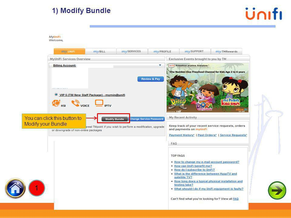 1) Modify Bundle xxxxx You can click this button to Modify your Bundle 1