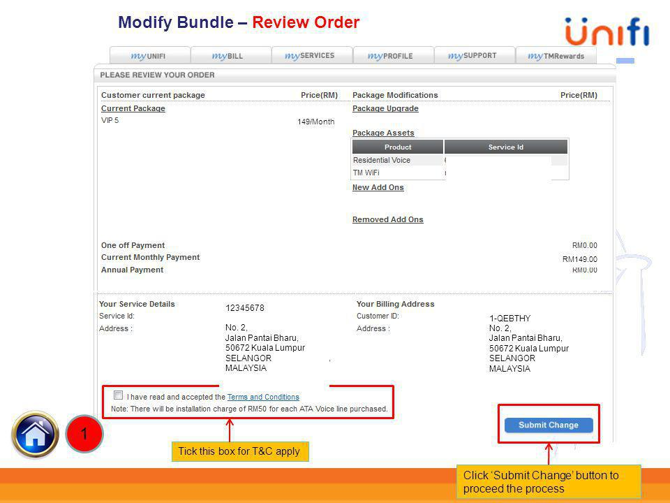 Modify Bundle – Review Order