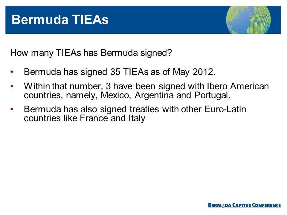 Bermuda TIEAs How many TIEAs has Bermuda signed