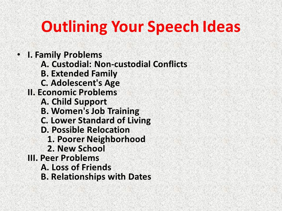 Outlining Your Speech Ideas