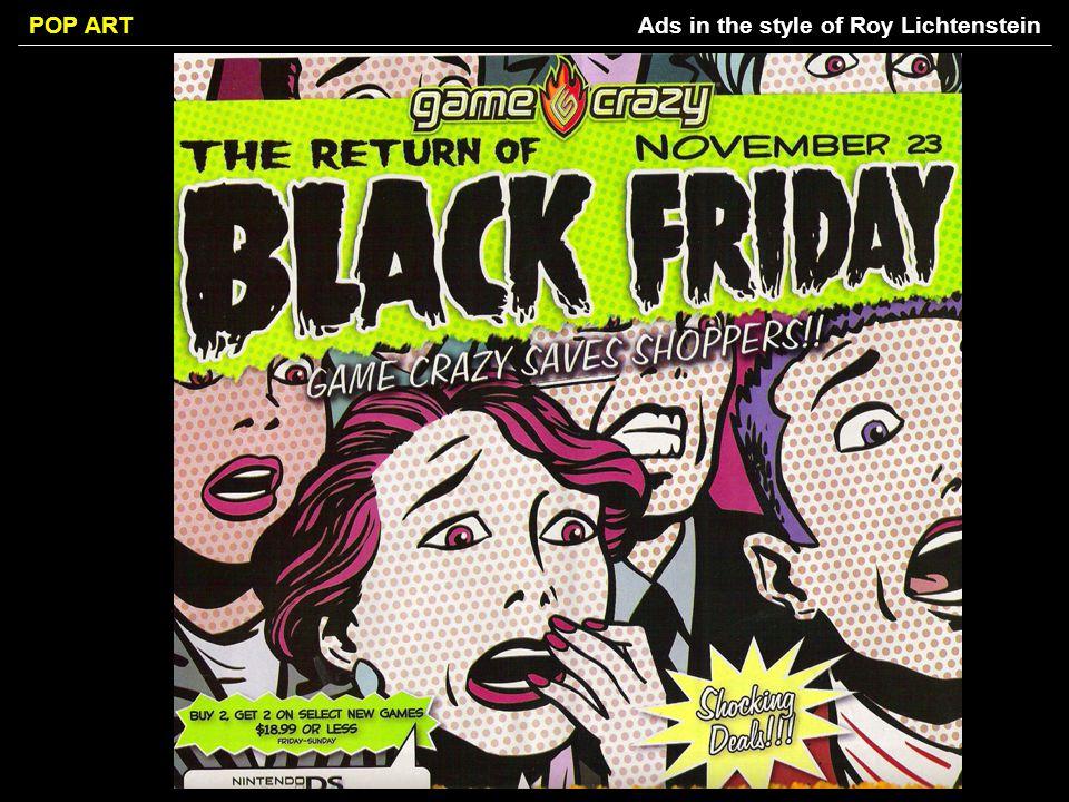 Ads in the style of Roy Lichtenstein