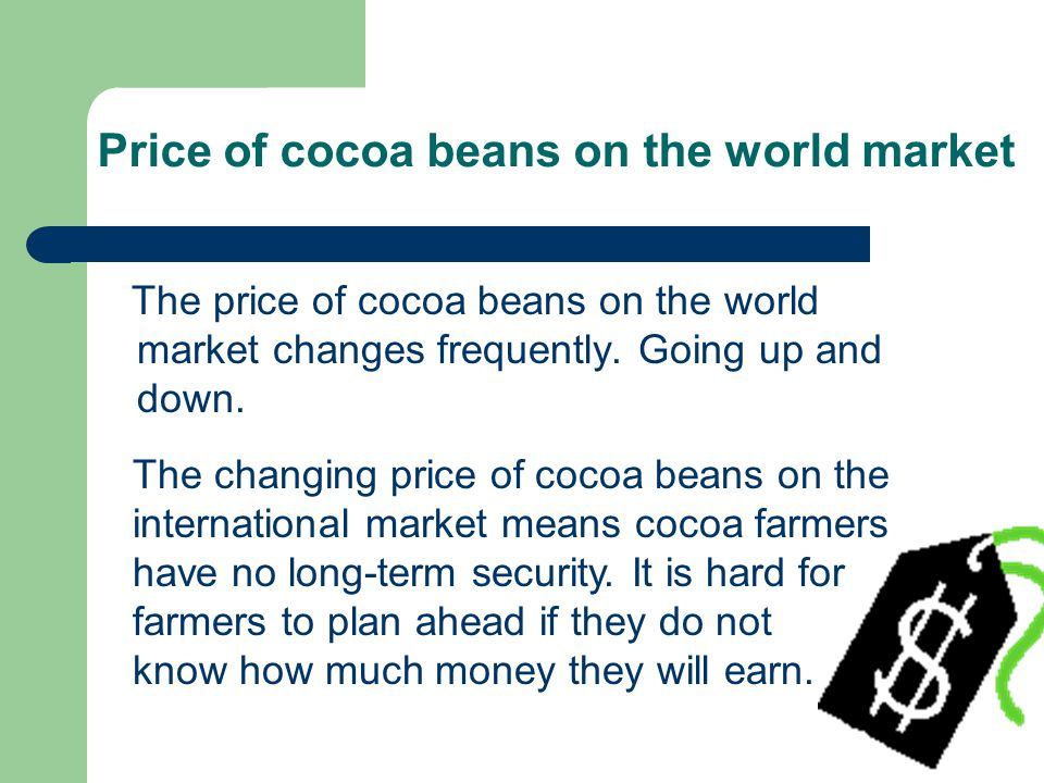 Price of cocoa beans on the world market