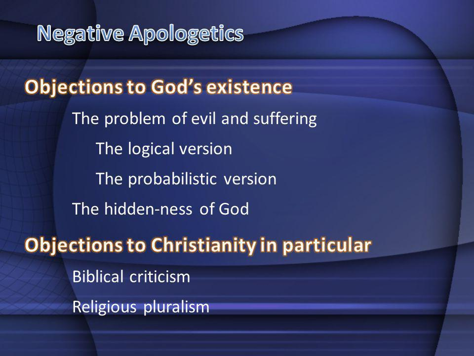 Negative Apologetics Objections to God's existence