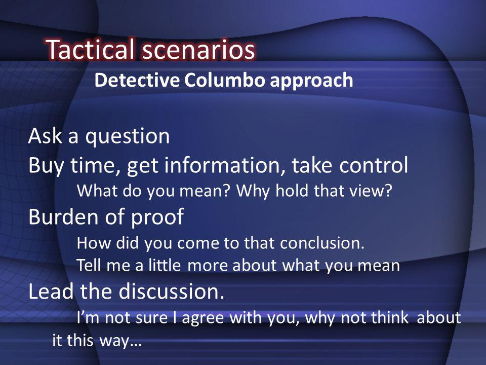 Tactical scenarios Ask a question