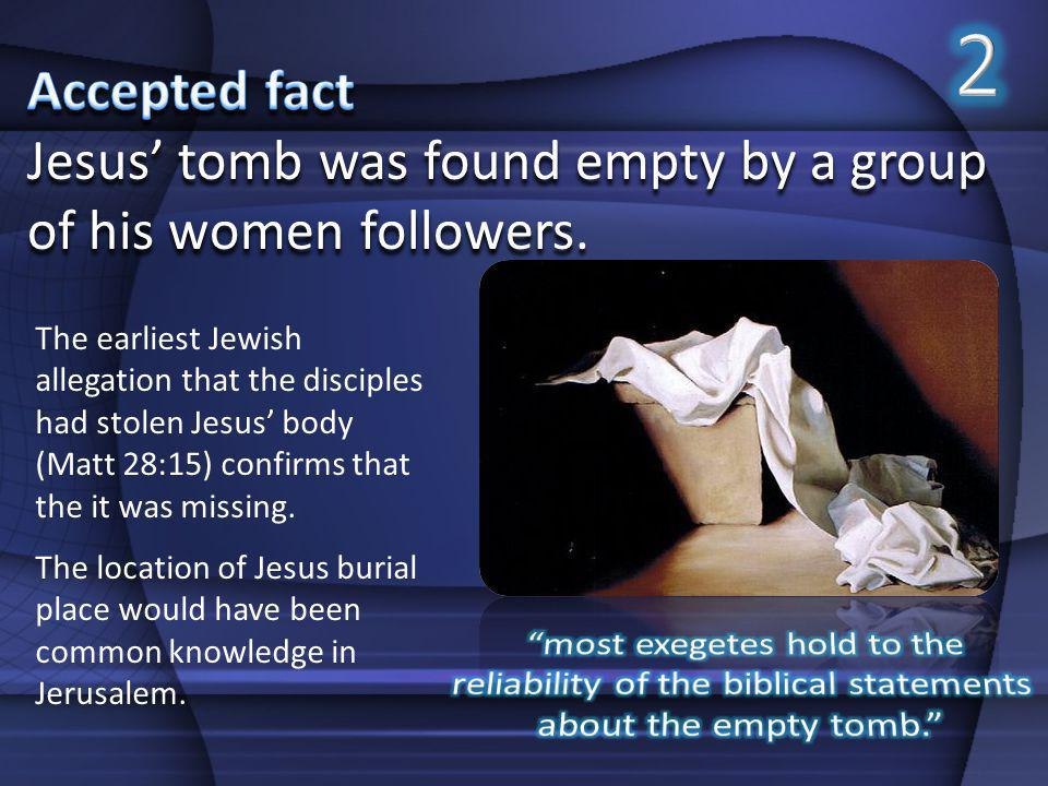 2 Accepted fact. Jesus' tomb was found empty by a group of his women followers.