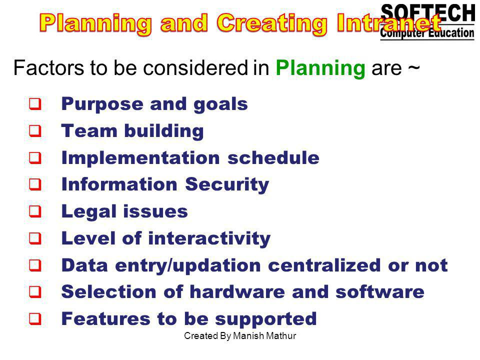 Planning and Creating Intranet