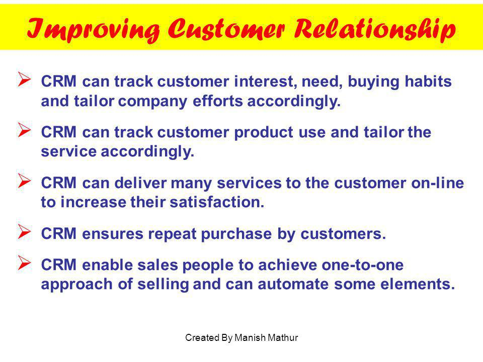 Improving Customer Relationship