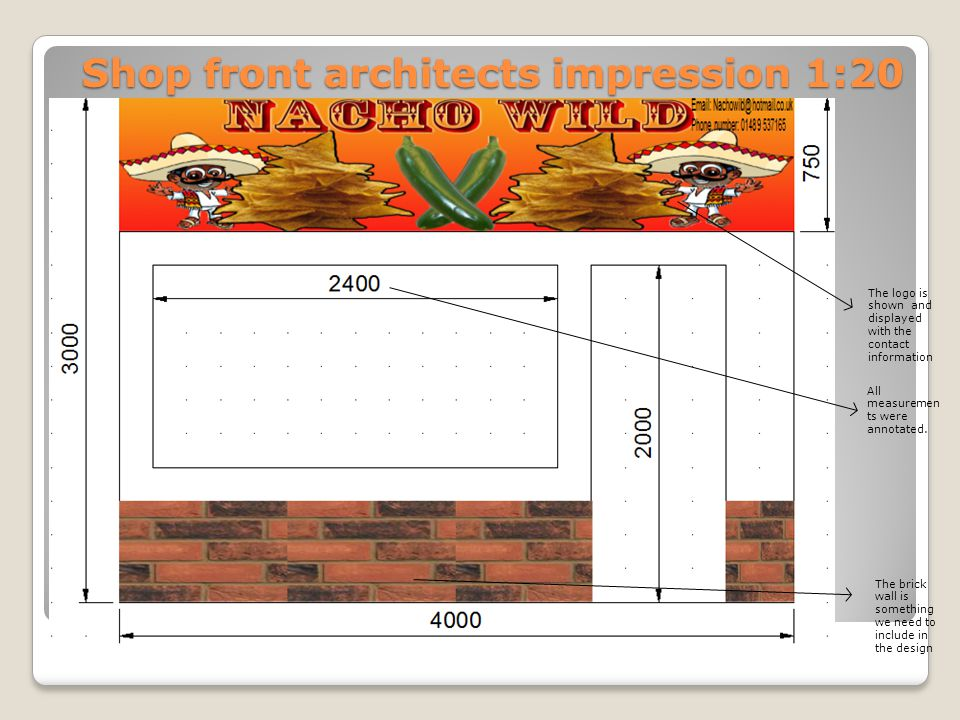 Shop front architects impression 1:20