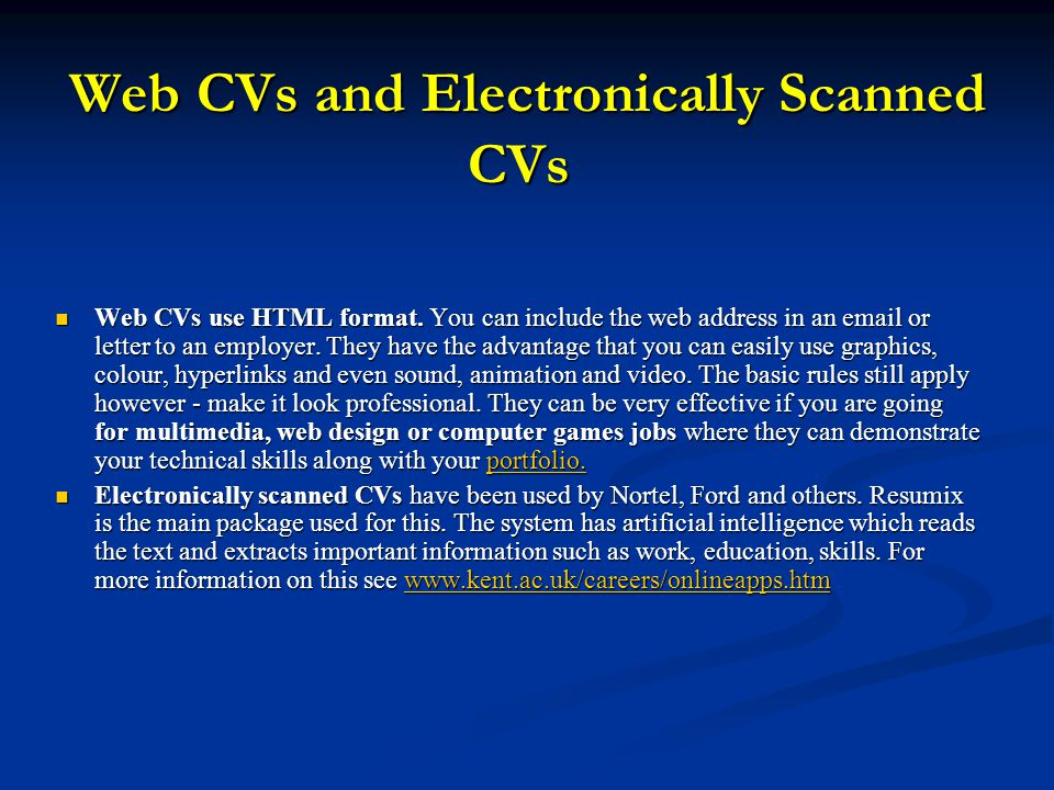 Web CVs and Electronically Scanned CVs