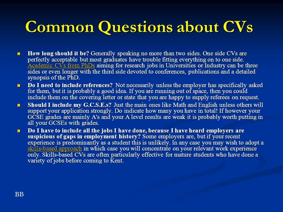 Common Questions about CVs