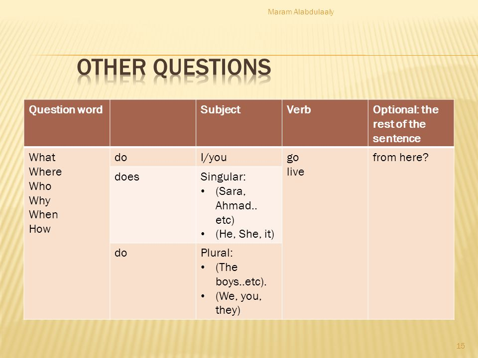 Other Questions Question word Subject Verb