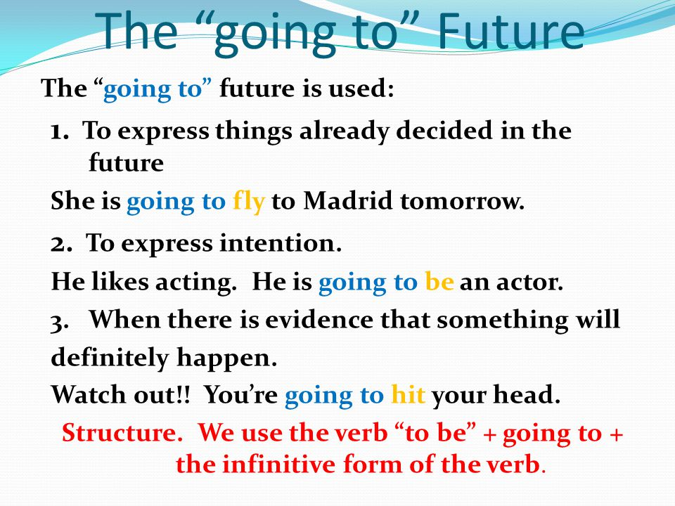 The going to Future The going to future is used: 1. To express things already decided in the future.