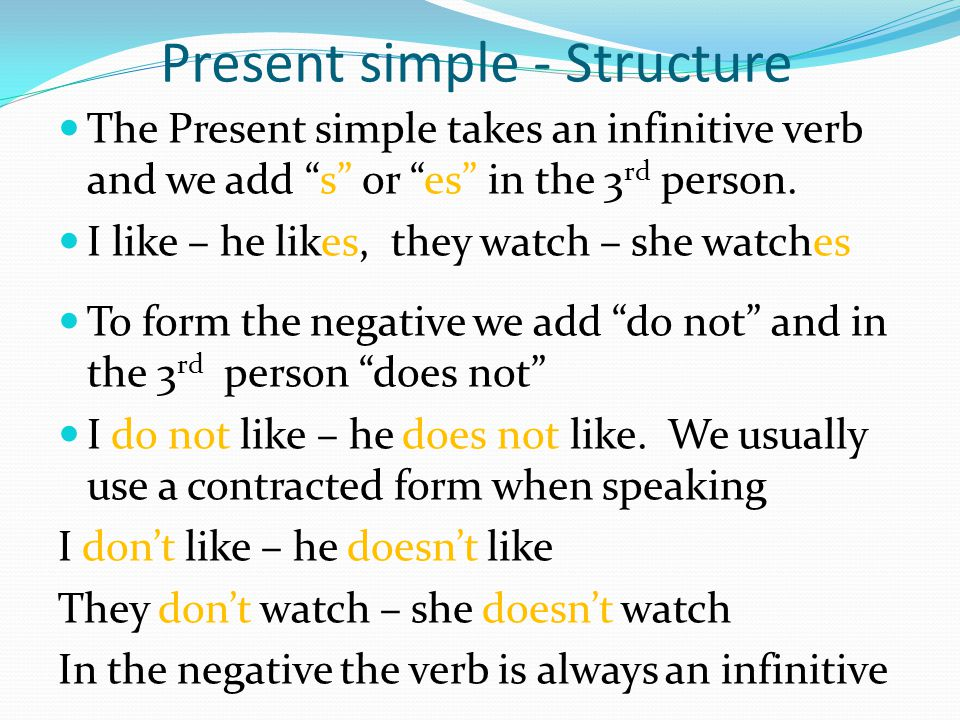 Present simple - Structure