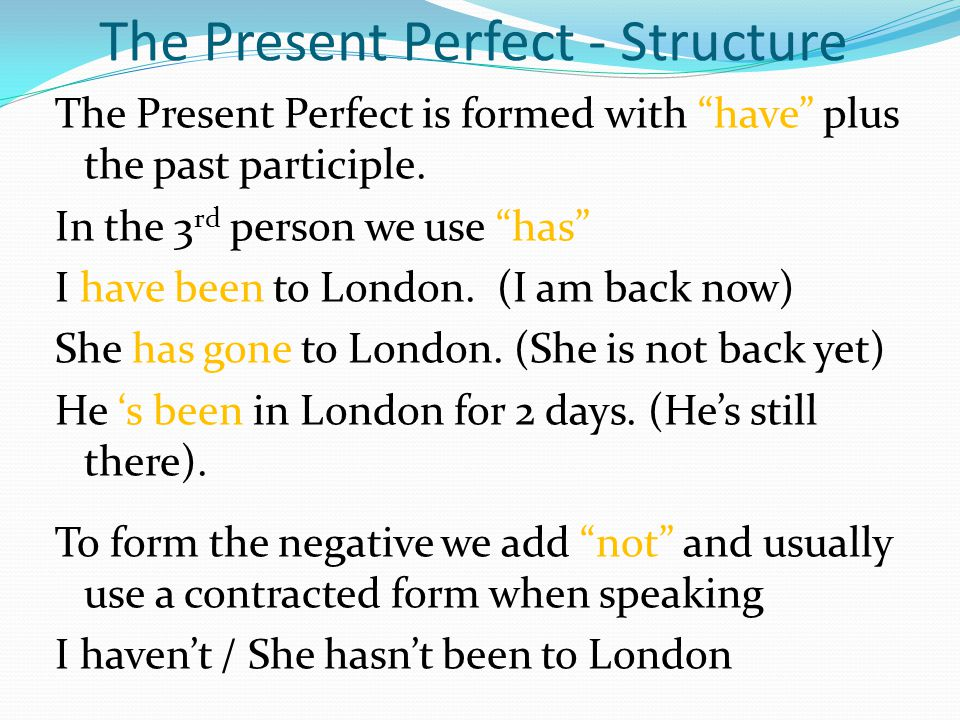 The Present Perfect - Structure