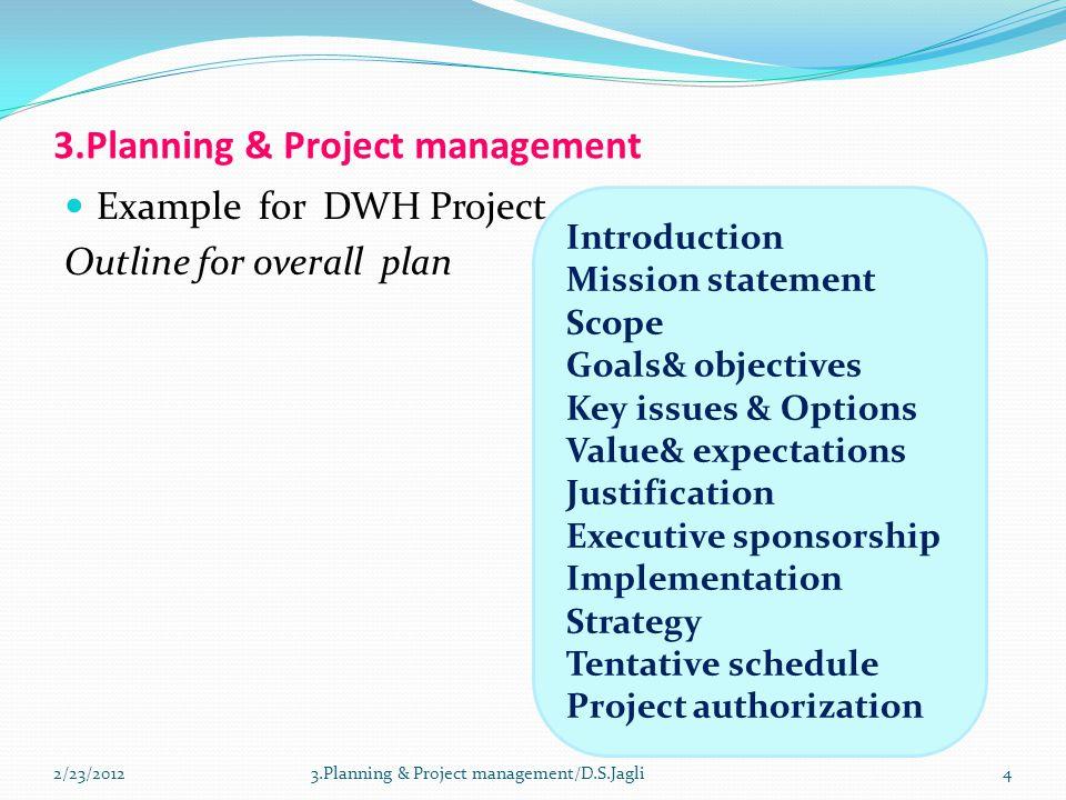 3.Planning & Project management