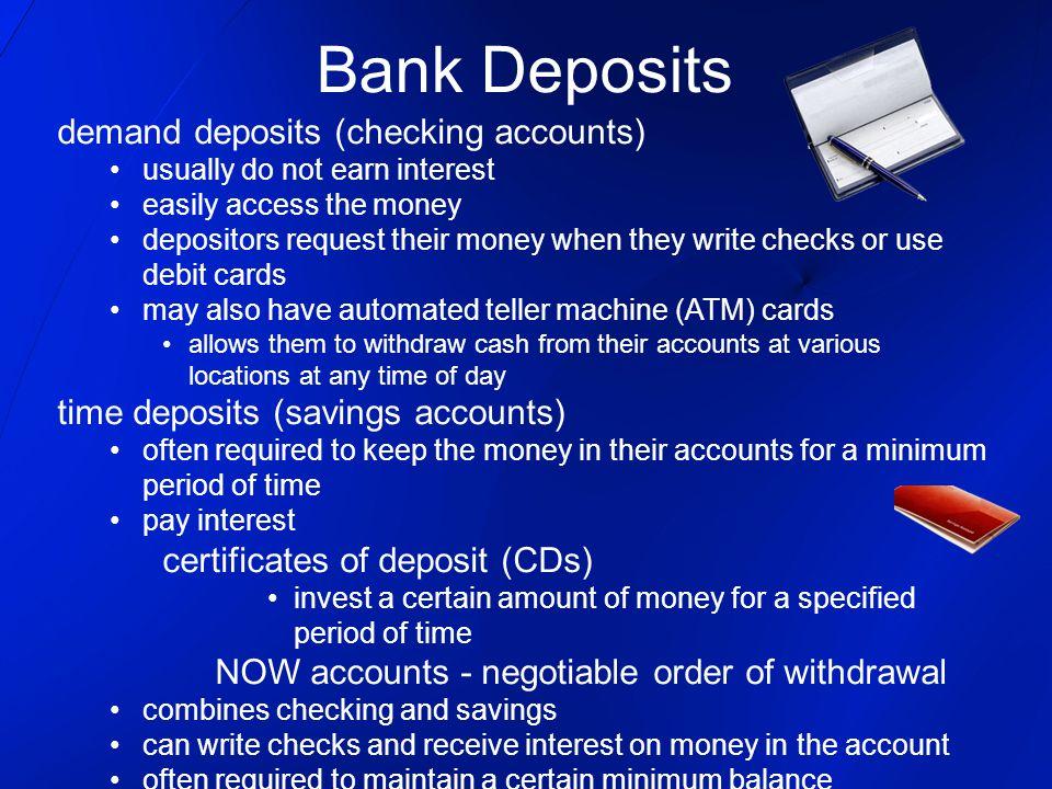 Bank Deposits demand deposits (checking accounts)