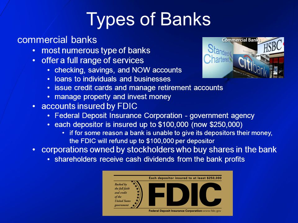 Types of Banks commercial banks most numerous type of banks