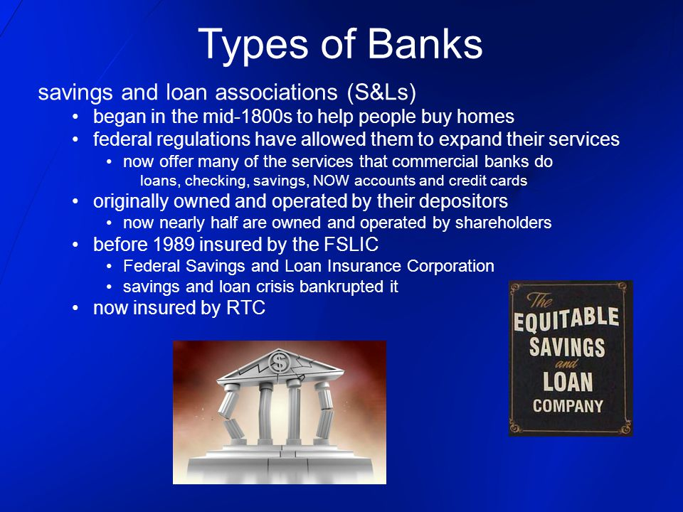 Types of Banks savings and loan associations (S&Ls)
