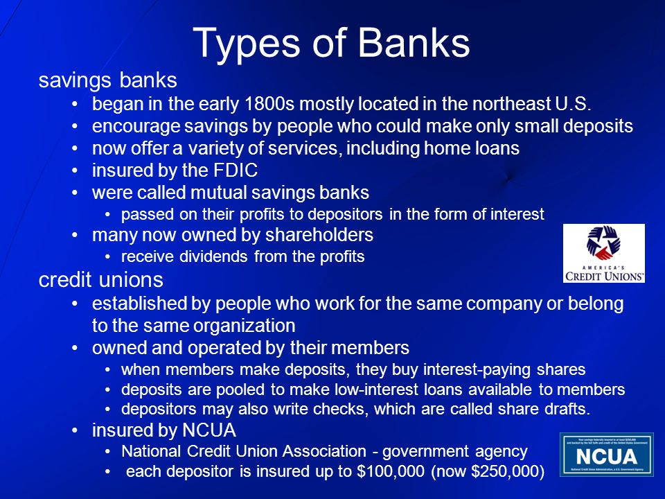 Types of Banks savings banks credit unions
