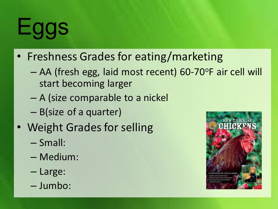 Eggs Freshness Grades for eating/marketing Weight Grades for selling