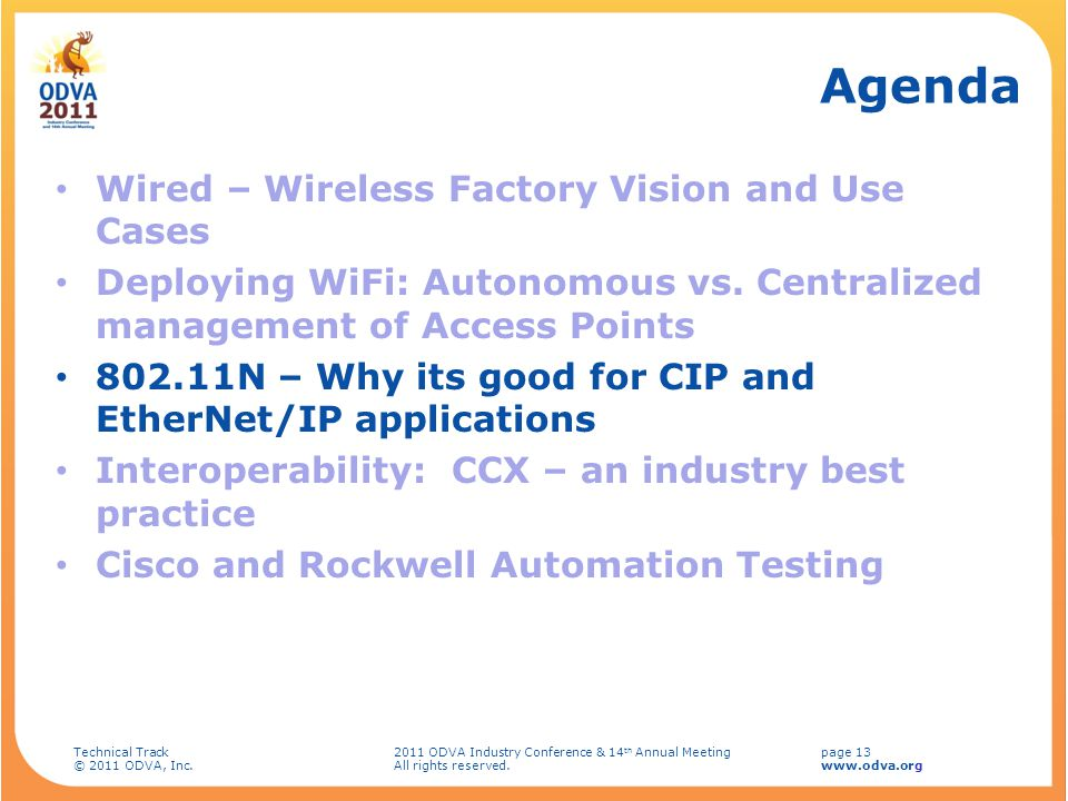 Agenda Wired – Wireless Factory Vision and Use Cases