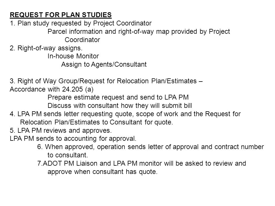 REQUEST FOR PLAN STUDIES