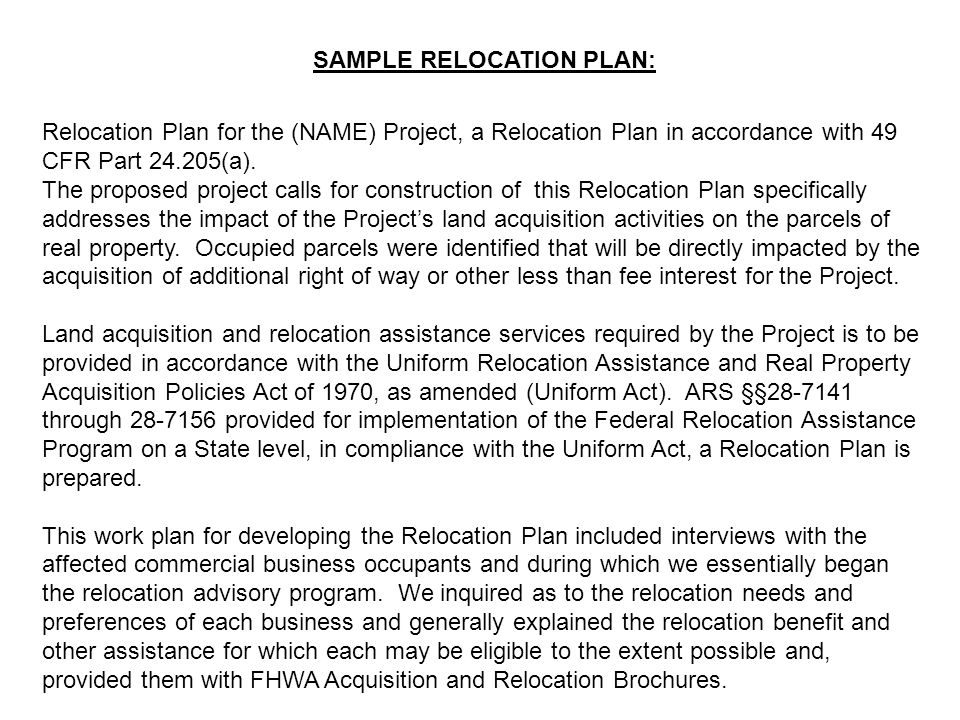 SAMPLE RELOCATION PLAN:
