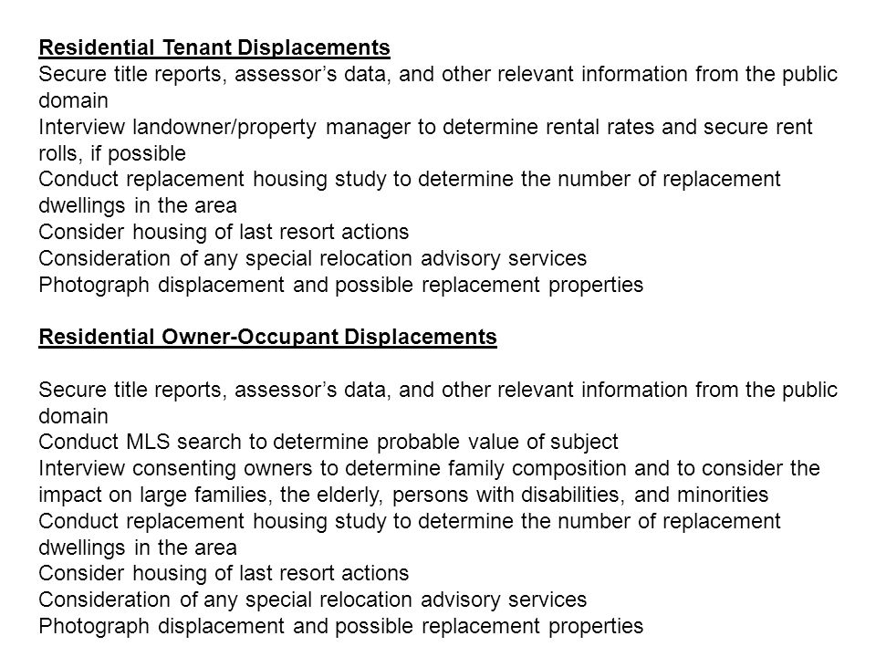 Residential Tenant Displacements