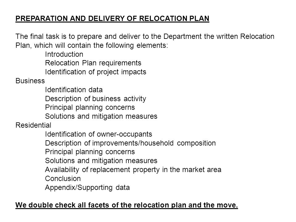 PREPARATION AND DELIVERY OF RELOCATION PLAN