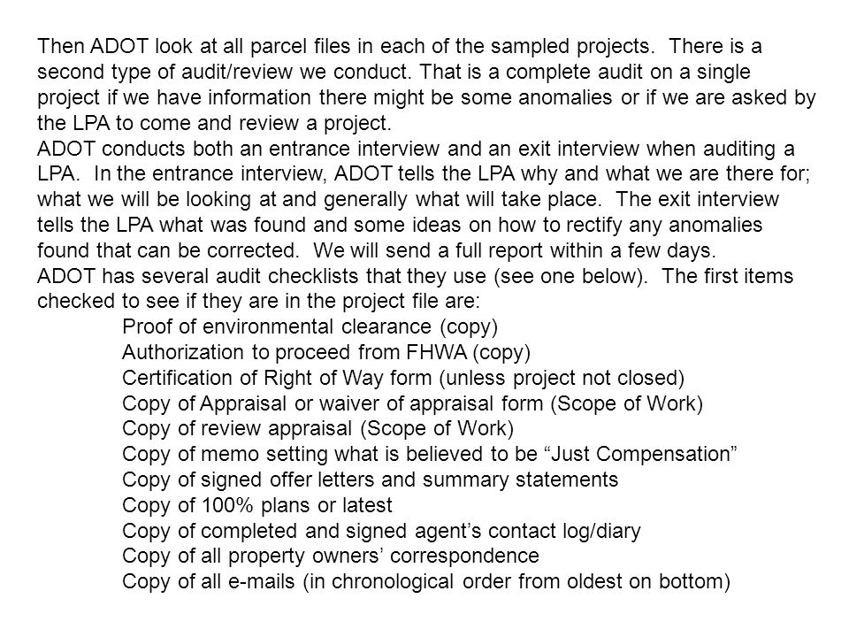 Then ADOT look at all parcel files in each of the sampled projects